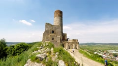 Tourists visiting Checiny Castle, Poland Stock Footage