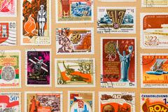Collection of post stamps Stock Photos
