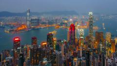 Blue hour time-lapse of Hong Kong - detail - stock footage