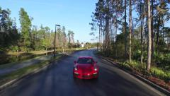 Sport Car red aerial A Stock Footage