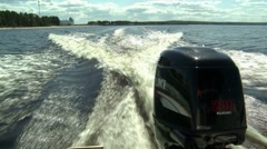 Boat racing on the water, splashing on the motor Stock Footage