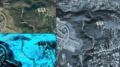 Aerial surveillance drone/UAV flyover of suburban green space Stock Footage