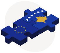 Stock Illustration of European Union and Kosovo Flags in puzzle