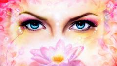 blue women goddess eyes with beautiful lotus water lilly flower - stock illustration