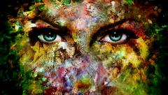 mystic blue eye made of painting colorful splashes - stock illustration