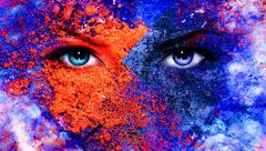 A pair of beautiful blue women eyes beaming, color earth effect, - stock illustration