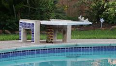 Diving Board and Swimming Pool - stock footage