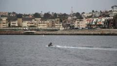 Jet Skier on Ocean in Marina del Rey, California Stock Footage