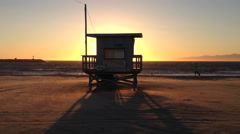Lifeguard Station During Beach Sunset (Marina del Rey, CA) Stock Footage