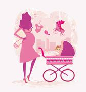 Pregnant woman pushing a stroller, abstract illustration Stock Illustration