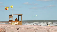 Lifeguard Tower at The Beach (Galveston, Texas on Gulf of Mexico) Stock Footage