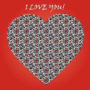 """QR code with text """"I LOVE YOU"""" and symbol of heart. Stock Illustration"""