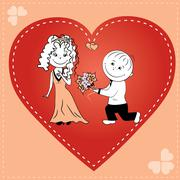 loving couple in heart - stock illustration
