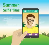 flat character taking selfie by mobile phone on the beach - stock illustration
