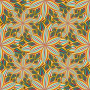 Seamless pattern with colorful flower chrysanthemum - stock illustration