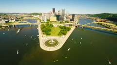 Pittsburgh downtown aerial view  Stock Footage
