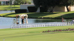 Preparing For Outdoor Wedding at Golf Course Stock Footage