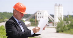 Technical Manager Examining Blueprint Check Project Concrete Preparation Factory Stock Footage