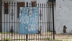 "Religious Sign #2 - ""I Love You Man"" - God - stock footage"