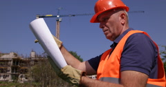 Employee Constructor Verify Building Infrastructure Plan Architectural Project Stock Footage