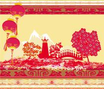 Mid-Autumn Festival for Chinese New Year - stock illustration