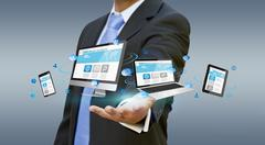 Businessman holding tech device in his hand Stock Illustration