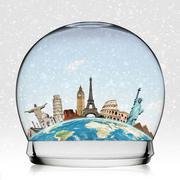 Monuments of the world in a snowball Stock Illustration