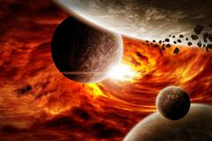 Meteorite impact on a planet in space - stock illustration