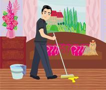 Man cleans up after dog Stock Illustration