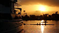 Crew Practice During Sunrise in Marina del Rey, CA (Rowing Practice) Stock Footage