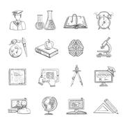 Education Icons Sketch Set - stock illustration
