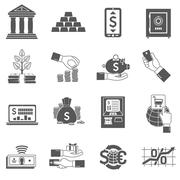 Banking Icon Black Set Stock Illustration