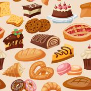 Pastry Seamless Pattern Stock Illustration