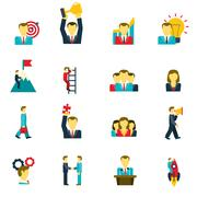 Leadership icons set Stock Illustration