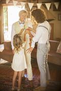 Bridegroom and best man preparing for wedding ceremony Stock Photos