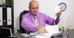Desperate Manager Payments Day Check Invoices Paying Incapacity Money Problems Stock Footage