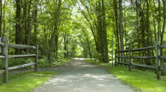 Rails to Trails bike path in New England, Cycling & Walking Stock Footage