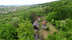 Aerial view of houses in forest of mount Medvednica by Zagreb, Croatia. Stock Footage