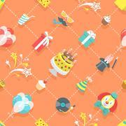Flat Birthday Party Celebration Icons Seamless Pattern - stock illustration
