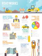 Road Worker Infographics - stock illustration