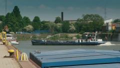 Commercial port in Regensburg 2 Stock Footage