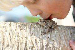 Little Boy Kissing Tree Frog Outside Stock Photos