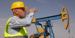 Petroleum Platform Worker Drink Water Hydrate Hot Sunny Day Oil Extraction Field Stock Footage