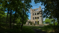 Castle in CT, Sleeping Giant Tower in Hamden with trees and hikers Stock Footage