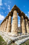Temple of Hera the famous Paestum archaeological  site . Italy - stock photo