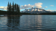 Two Jack Lake and Mount Rundle 1 Stock Footage