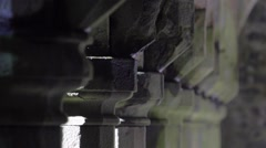 Old Columns in Monastery Cloister Stock Footage