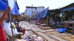 Maeklong Train Market Stock Footage