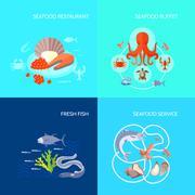 Sea Food Icon Flat Stock Illustration