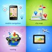 Navigation Concept Set - stock illustration